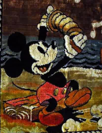 MICKEY MOUSE Is Playing Hand Held Squeezebox As DONALD DUCK Dances With PLUTO Watching Approx 20 X 39 W Fringed Edges Multicolored No Flaws Near Mint
