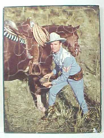 Unknown Maker Color Photo In Blue Outfit Inspecting Front Hoof Of His Horse Excellent 4500