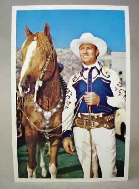 GENE AUTRY Standing Next To His Horse Full Color