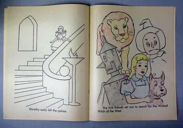 coloring book the wizard of oz coloring book artcraft c2075 saalfield undated but 1970s vintage large oversized approx