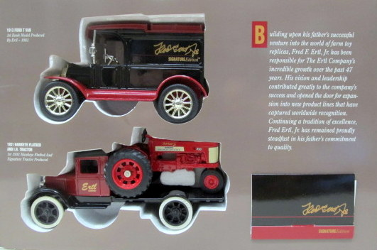 Charmant 1:32 Scale. 1992 Issue. Includes 1931 HAWKEYE FLATBED With FARMALL 350  TRACTOR And A 1913 MODEL T FORD VAN. Also Included Are His Business Card  And A ...
