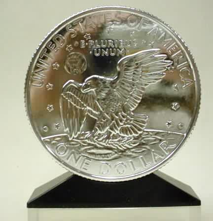 5802d9147dc 1971 EISENHOWER SILVER DOLLAR figural bank. giant silver finish replica of  the ...