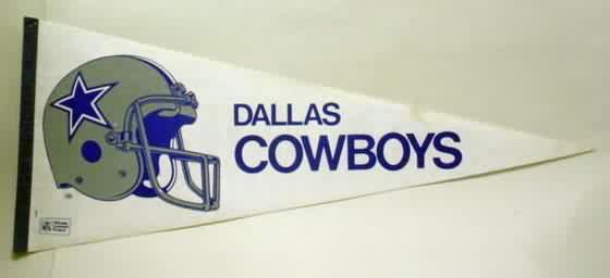 f3eb9abfa ... blued border strip. tip intact. large helmet design. rectangular NFL  Officially Licensed Product logo on lower left. 1980 s vintage. full size  approx.