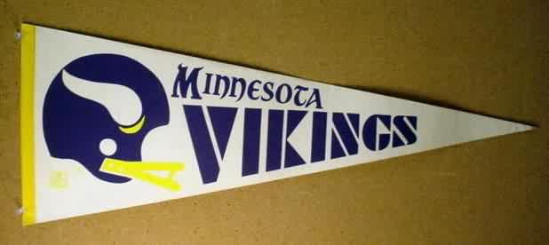 869414e04 MINNESOTA VIKINGS. dark purple and yellow white stiffer felt. golden yellow  border. tip intact. has undated NFL shield logo. older 2 bar face mask  helmet. ...