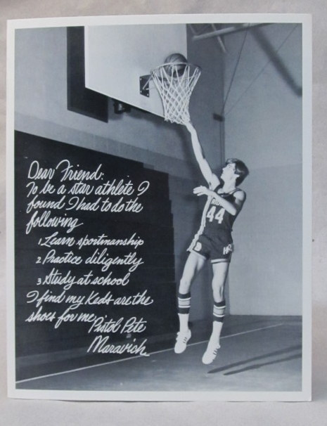 15f31fb9008e ... image of him making a lay-up. circa 1970 from Atlanta Hawks practice  session. White script lettering reads  Dear Friend  to be a star athlete I  found I ...