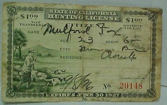 Vintage miscellaneous sports collectibles and memorabilia for California state fishing license