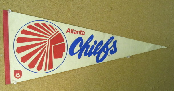 509916498d2b0 Soccer Pennants. pennant. ATLANTA CHIEFS. NASL. red and blue on white. red  border. 30