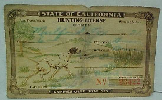 Vintage miscellaneous sports collectibles and memorabilia for Calif fishing license